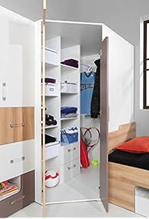 Begehbarer eckkleiderschrank weiß  Begehbarer Eckkleiderschrank weiß, betonfarbige Falttür ...