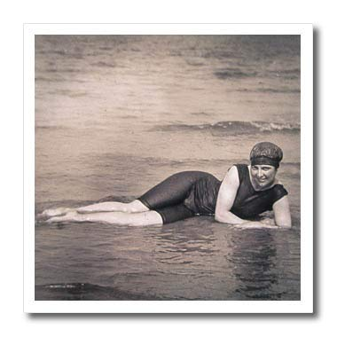 3dRose Scenes from The Past - Magic Lantern - Vintage Edwardian Bathing Beauty at The Beach Circa 1910-10x10 Iron on Heat Transfer for White Material (ht_300287_3)