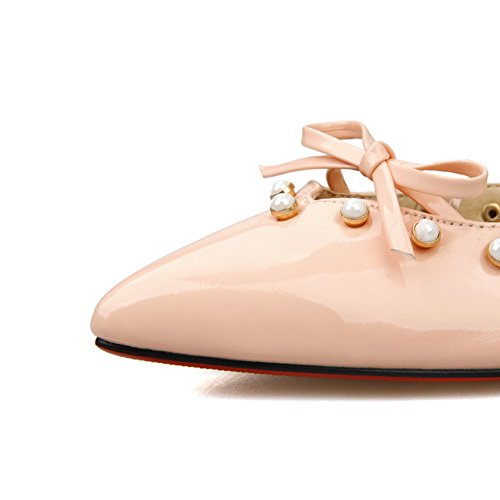 1TO9 Womens Bowknot Bead Mule Patent Leather Pumps-Shoes Pink FUMXUW