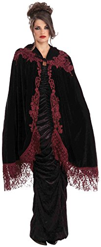 Long Black Dress Halloween Costumes (Forum Novelties Women's 45-Inch Velvet Lace Vampiress Cape, Black, One Size)