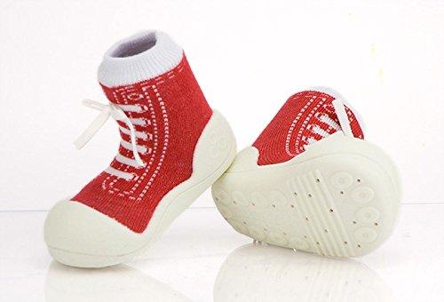 Attipas–Zapatillas de algodón gris Talla:21.5 EU rojo