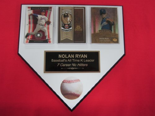 Nolan Ryan ALL TIME K KING 3 Card Collector HOME PLATE Plaque EXCLUSIVE DESIGN to AMAZON!