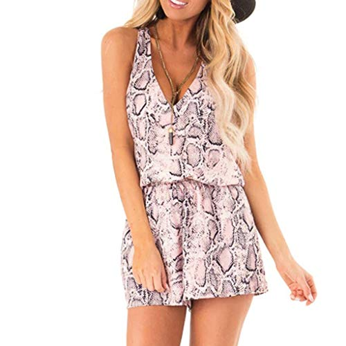 (Hurrybuy Women's Stylish Sexy Low-Cut Deep V Neck Sleeveless Short Romper Jumpsuit Playsuit)