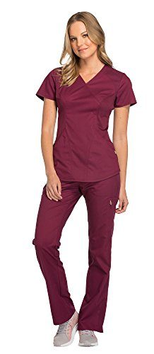 Cherokee Luxe Women's Mock Wrap Top CK603 & Women's Elastic Waist Pull-On Pant CK003 Scrub Set (Wine - Medium/Medium)