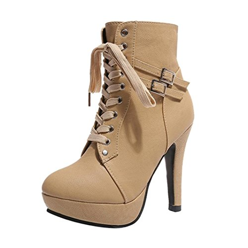 2018 Womens Girls Ankle Bootie 5.5-9.5,Leather Wedges High Heel Lace-up Round Toe Boots (Beige, US:7.5)