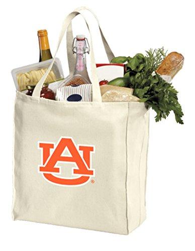 Reusable Auburn Grocery Bags or Auburn University Shopping Bags NATURAL COTTON