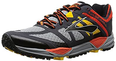 Brooks Men's Cascadia 11 River Rock/CherryTomato/Spectra Yellow Sneaker 7 D (M)