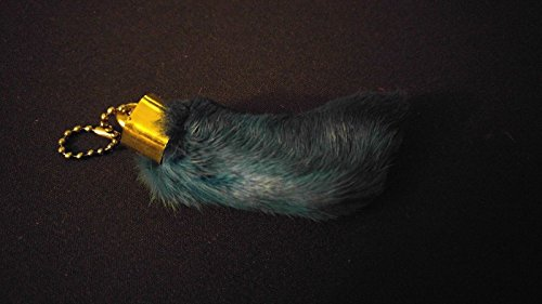 BLUE Lucky Rabbit's Foot Keychain Key Ring Natural Real Dyed Stocking Stuffer -