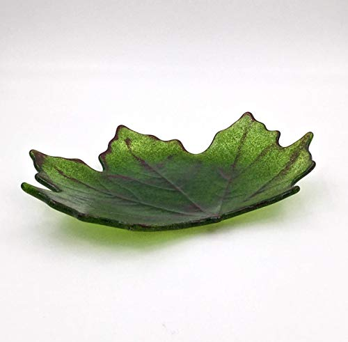 Green Maple Leaf Fused Glass Decorative ()