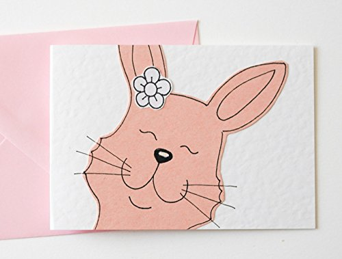 File Invite - Pink Rabbit Pack of 6 Notecards / Invites / Thank You Cards