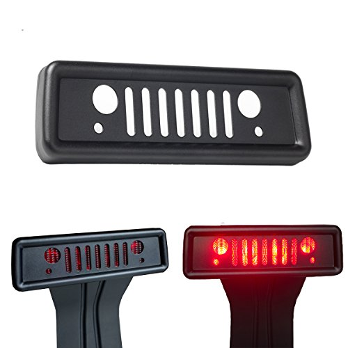 Airisland Brake Light Cover for Jeep Wrangler Third Tail Light Cover Rear Lamp Protector for 2007-2017 Jeep Wrangler JK and JKU Unlimited Accessories Durable Aluminum with Black Coating Finish V1.0