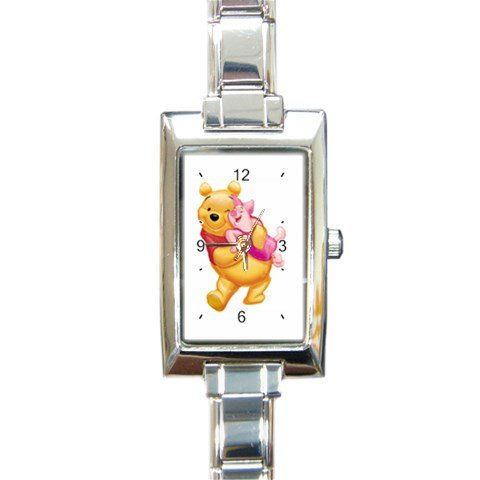 Winnie the Pooh and Piglet Too Rectangular Italian Charm Watch with Stainless Steel 16 Link Wrist Strap Pooh Bear and Piglet