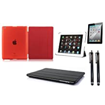 NOS®Wear Red iPad 2 3 & 4 Hard Case Front Back Magnetic Smart Cover Wake/Sleep PU Stand Case + NOS® 2 x Black Stylus + Screen protector