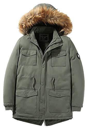 in Washed Winter Autumn Green Velvet Top Long Coat Drawstring Polyester Section Jacket Windbreaker JJZXX Men's Leisure Plus Waist Overcoat qvSBYE