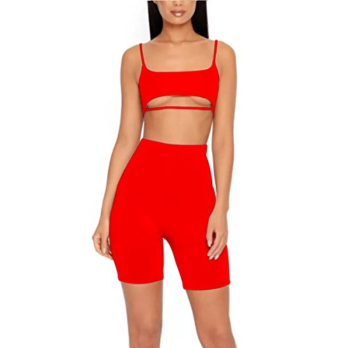 LUFENG Women's Suit Two Pieces Set Sexy Sleeveless Strapless Crop Top and Shorts Set Red S