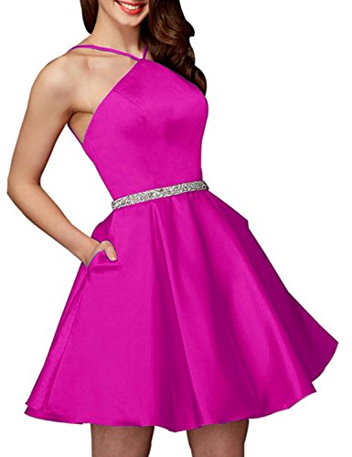 Party BessWedding BHS056 Short Dresses 2018 Women's Fuschia Homecoming Dress Evening Halter Beads 8rv8Hq