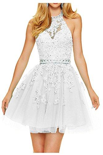 Neckholder Promkleider Kurz Spitze Mini La Anmutig Weiß Damen Partykleider Abendkleider Marie Braut Cocktailkleider g8qqXP4B