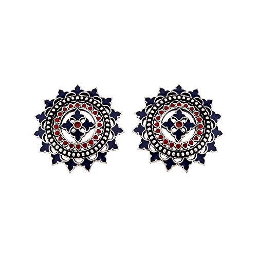VOYLLA Mandala Silver Brass Enamel Embellished Silver Earrings for Women