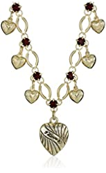 1928 Jewelry Gold-Tone Heart Drop with Red Crystal Accents Pendant Necklace, 15.5""