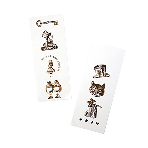 Talking Tables Truly Alice Mad Hatter Party Alice in Wonderland Gold Temporary Tattoos for a Birthday or Mad Hatter's Party, Gold (11 Pack)