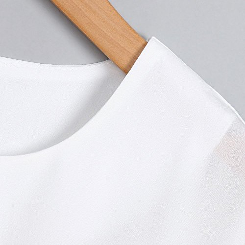 Blouse Loisirs Rond Lache Haut Chemisier Chic Col Dcontract Chemises Lady Trompette Manches Vest Tops Automne Courtes T Col Casual V Shirt Blanc Femme 1YR8wq