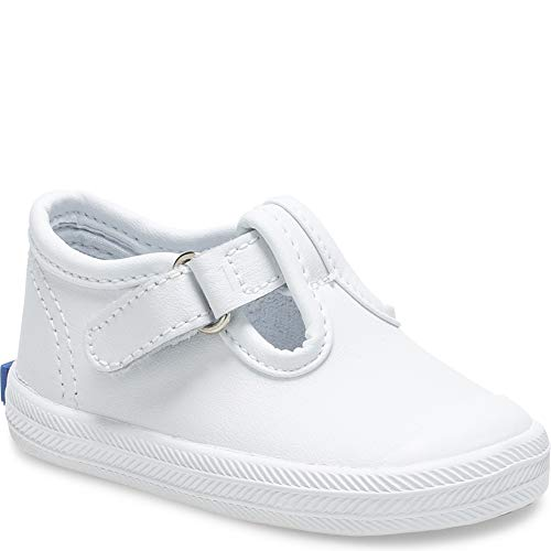Keds Girls Champion Toe Cap T-Strap Sneaker , White Leather, covid 19 (Keds Childrens Shoes coronavirus)