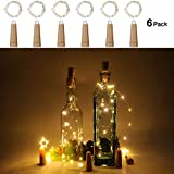 Anpro 20 LED Wine Bottle Lights AAA Battery Operated-Warm White Cork Lights String lamp for Christmas Party, DIY Decor Party and Wedding
