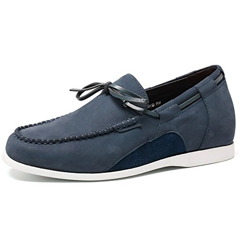 CHAMARIPA Hombres de cuero genuino Loafer conducir ascensor zapatos de la Marina / Brown-Taller 6CM / 2.36 pulgadas-H71C21V011D Azul