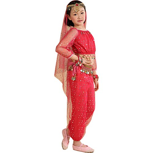 Dance Belly Performance Costumes (Astage Little Girl`S Belly Dance Costumes,Long sleeve Highlights Top ,Pants Hotpink £¨S fits Unders)