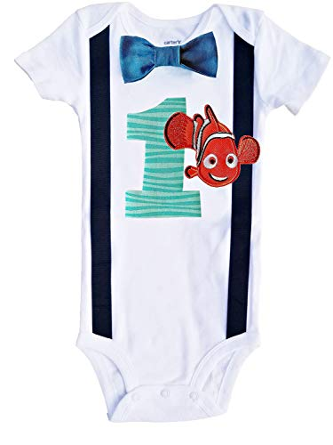 Perfect Pairz Baby Boys 1st Birthday Nemo Bodysuit Aqua ()