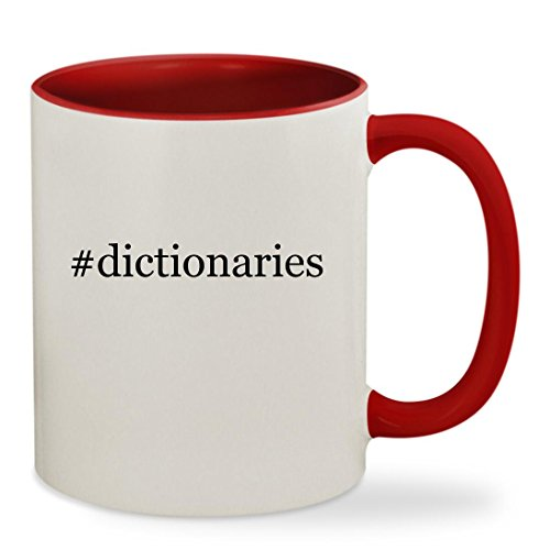 #dictionaries - 11oz Hashtag Colored Inside & Handle Sturdy Ceramic Coffee Cup Mug, Red