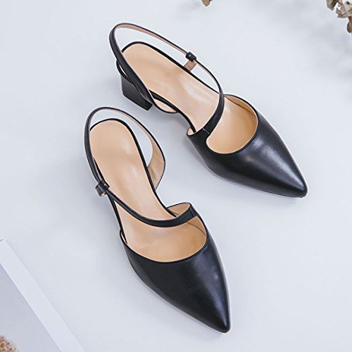 Womens Pointed Toe Low Mid Block Heel Sandals Slingback Ankle Strap Sandals For Dress Evening Wedding Party Work Office Black mQSlg90e8R
