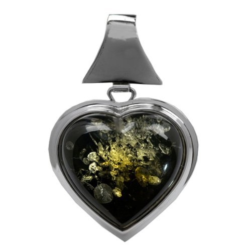 Green Amber and Sterling Silver Large Heart Pendant