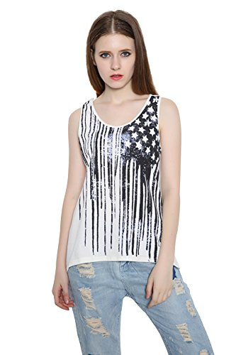 REINDEAR Fashion Women Patriotic American Flag Print Lace Camisole Tank Top US Seller (S, Style #4)