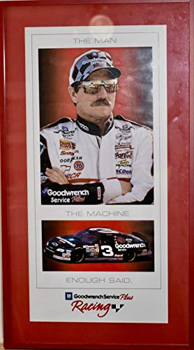 GM Goodwrench Service Plus Racing - The Man/The Machine/Enough Said - Framed Dale Earnhardt Sr Vintage Poster - 27x15x1 Inch - Rare - Mint