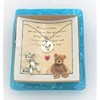 Smiling Wisdom - Winnie the Pooh Bear Heart Encouraging Quote Gift Set - Double-Sided Love Heart Pendant Necklace Jewelry for Daughter Girls Tween Teens & Women - Brave Smart Loved Message + Free Gift