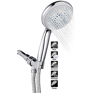 "A-Flow 5 Function Luxury 5"" Handheld Shower Head System / ABS Material with Chrome Finish / 60"" Flexible Hose; Mount Holder Included / Enjoy an Invigorating & Luxurious Spa-like Experience"