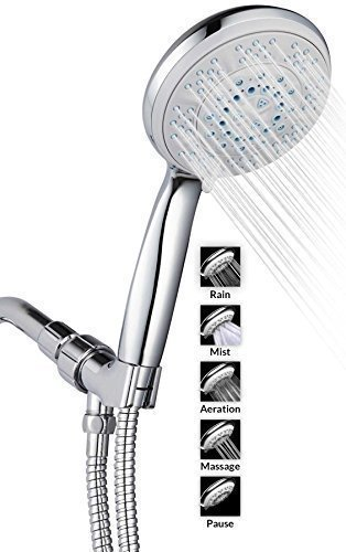 "A-Flow™ 5 Function Luxury 5"" Handheld Shower Head System / ABS Material with Chrome Finish / 60"" Flexible Hose; Mount Holder Included / Enjoy an Invigorating & Luxurious Spa-like Experience"