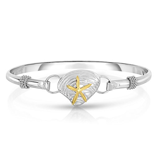 Unique Royal Jewelry Ocean Side Sterling Silver Nautical Interchangeable Bangle (Size ()
