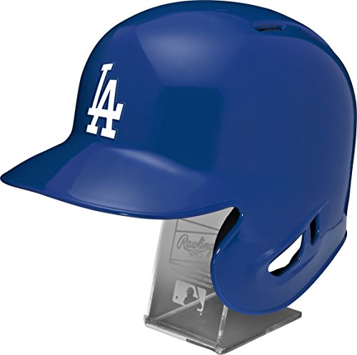 (Rawlings MLB Los Angeles Dodgers Replica Batting Helmet with Engraved Stand, Official Size, Blue )