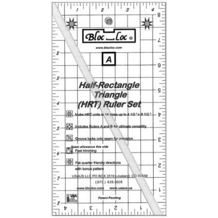 Bloc Loc~Half Rectangle Triangle Large 2-1 Acrylic Ruler by Bloc Loc