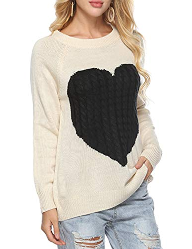 Women's Casual Pullover Sweater Crew Neck Long Sleeve Heart Pattern Patchwork Knits Sweater Jumper Sweater ()