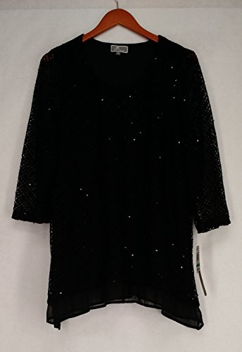 JM Collection Womens Plus Sequined 3/4 Sleeve Blouse Black 0X (Sequined 3/4 Sleeve Top)