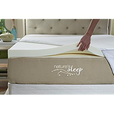 Nature's Sleep Cool IQ Queen Size 2.5 Inch Thick, 3.5 Pound Density Visco Elastic Memory Foam Mattress Topper with Microfiber Fitted Cover and 18 Inch Skirt