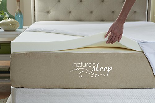 Nature's Sleep Cool IQ Twin XL Size 2.5 Inch Thick, 3.5 Pound Density Visco Elastic Memory Foam Mattress Topper with Microfiber Fitted Cover and 18 Inch Skirt