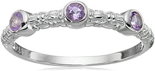 Sterling Silver Textured Amethyst Mini Ring, Size 7