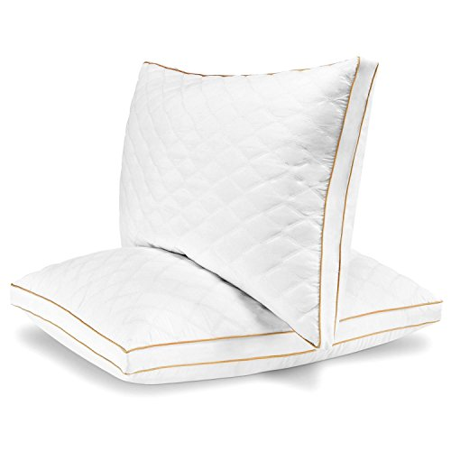 Italian Luxury Quilted Pillow (2-Pack) - Hotel Quality Plush Gel Fiber Filled Pillow with Quilted Cover and Sateen Piping - Hypoallergenic & Dust Mite Resistant - Queen