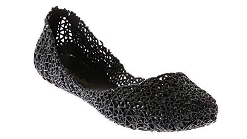Glitter Jelly - CALICO KIKI ASYA-CK01 Women's Metallic Glitter Fashion Slip On Jelly Shoe Ballerina Flats (7 US Black)