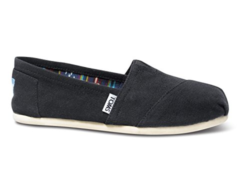 TOMS Women's Canvas Slip-On,Black,7 M