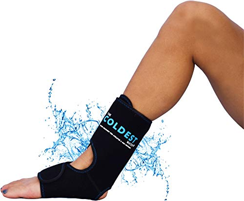 The Coldest Foot Ankle Achilles Pain Relief Ice Wrap with 2 Cold Gel Packs | Best for Achilles Tendon Injuries, Plantar Fasciitis, Bursitis & Sore Feet Built for Cold Therapy (Black XS-XL) ()